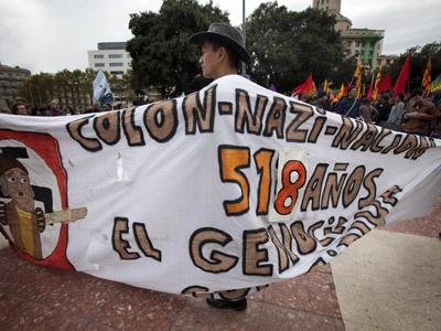 Manifestación en Barcelona contra la celebración del 12 de octubre.M. Ángeles torres