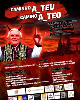 Cartel de la 'fiesta maléfica' Camino a Teo, que se celebrará en Santiago coincidiendo con la visita del Papa. SEIOQUE.COM