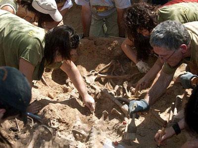 Trabajos de exhumación de la fosa de Villalba de Duero (Burgos) realizados el pasado agosto.