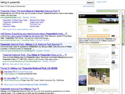 Así es la vista previa de Google Instant Preview.