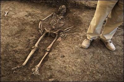 Uno de los cadáveres exhumados del cementerio de San Rafael, en Málaga.