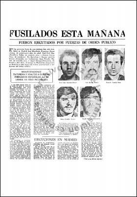 Recorte de prensa de la época dando cuenta de los fusilamientos.