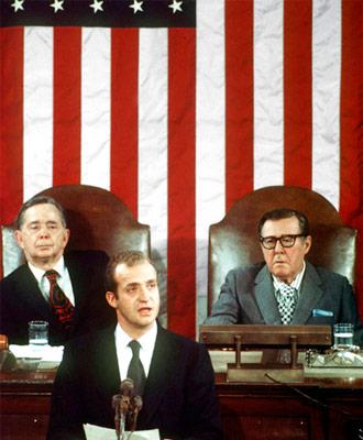 Intervención del rey Juan Carlos en el verano de 1976 ante el Congreso de EEUU.- EFE-Archivo